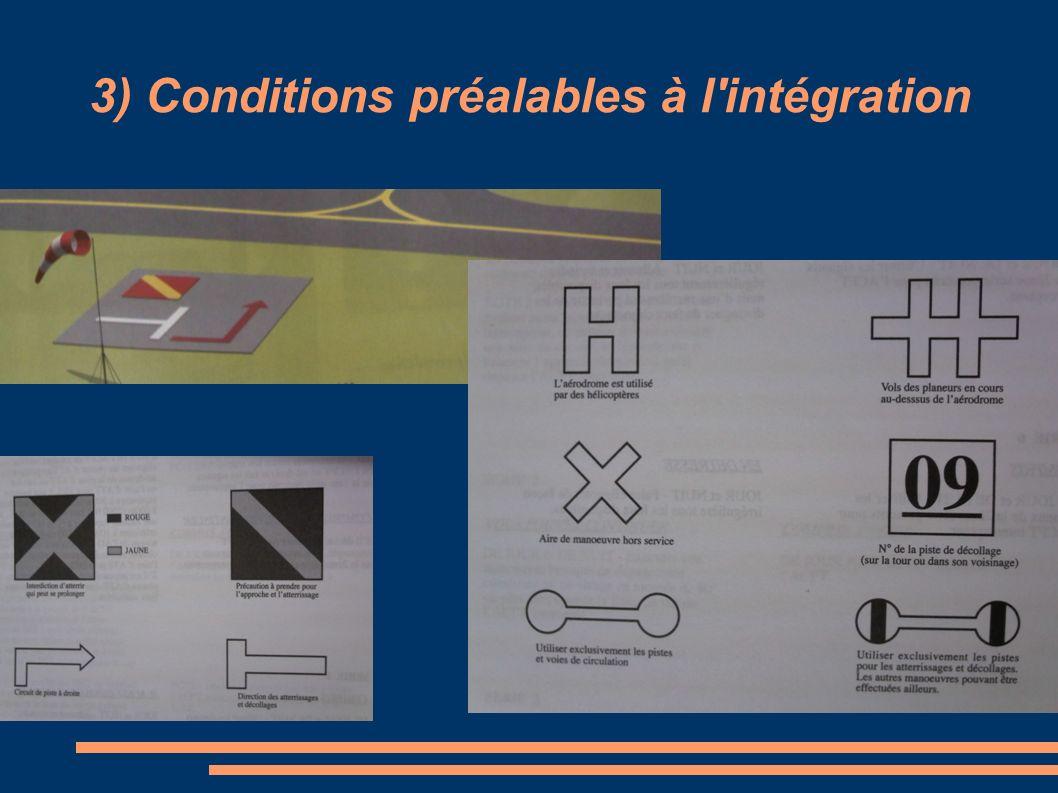 3) Conditions préalables à l'intégration L'aire à signaux: