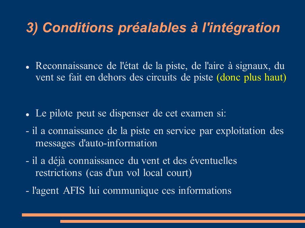3) Conditions préalables à l'intégration Reconnaissance de l'état de la piste, de l'aire à signaux, du vent se fait en dehors des circuits de piste (d