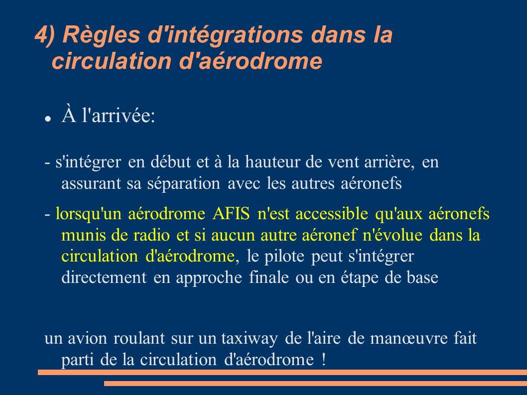4) Règles d'intégrations dans la circulation d'aérodrome À l'arrivée: - s'intégrer en début et à la hauteur de vent arrière, en assurant sa séparation