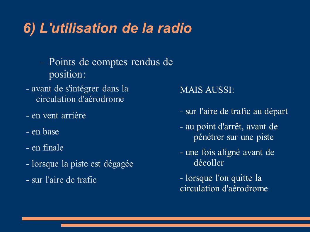 6) L'utilisation de la radio - avant de s'intégrer dans la circulation d'aérodrome - en vent arrière - en base - en finale - lorsque la piste est déga