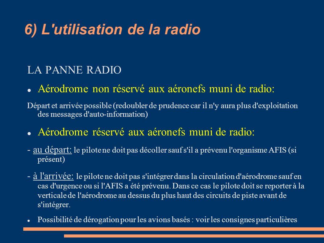 6) L'utilisation de la radio LA PANNE RADIO Aérodrome non réservé aux aéronefs muni de radio: Départ et arrivée possible (redoubler de prudence car il