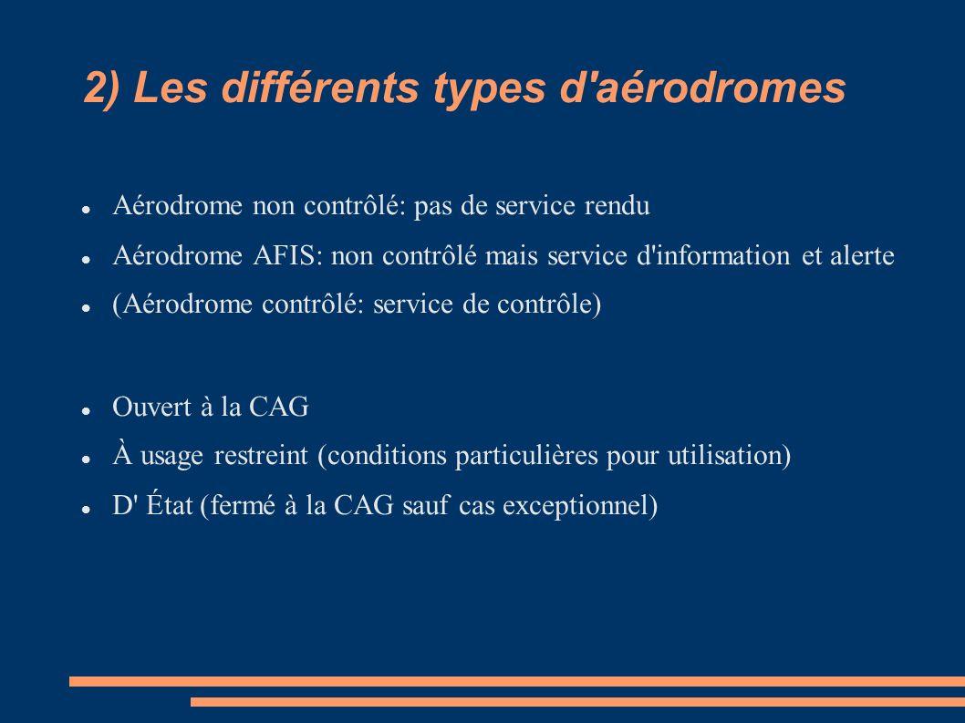 2) Les différents types d'aérodromes Aérodrome non contrôlé: pas de service rendu Aérodrome AFIS: non contrôlé mais service d'information et alerte (A