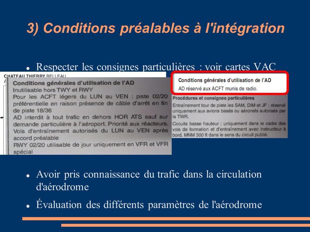 3) Conditions préalables à l'intégration Respecter les consignes particulières : voir cartes VAC Avoir pris connaissance du trafic dans la circulation