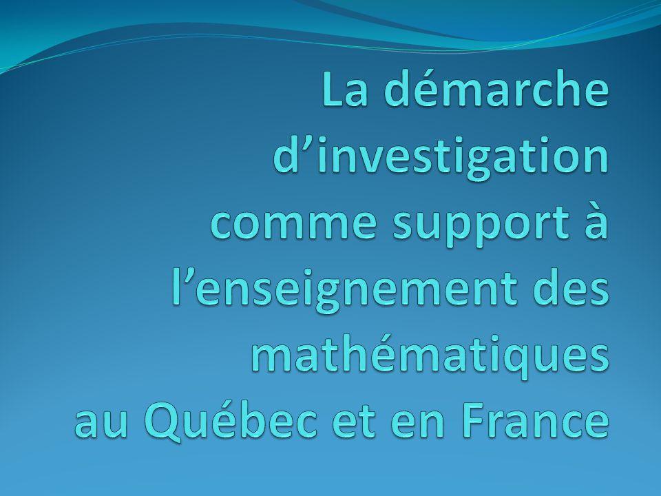 1.Les modèles pédagogiques liés au paradigme dapprentissage favorisé par le programme de formation de lécole québécoise (PFEQ); 2.Le rôle de la démarche dinvestigation dans lappropriation des savoirs mathématiques par lélève ; 3.Lexploitation des notions dhistoire des mathématiques dans la mise en place dactivités pédagogiques favorisant le développement des capacités de recherche ; 4.La place de la démarche dinvestigation dans la pratique enseignante en France et au Québec.
