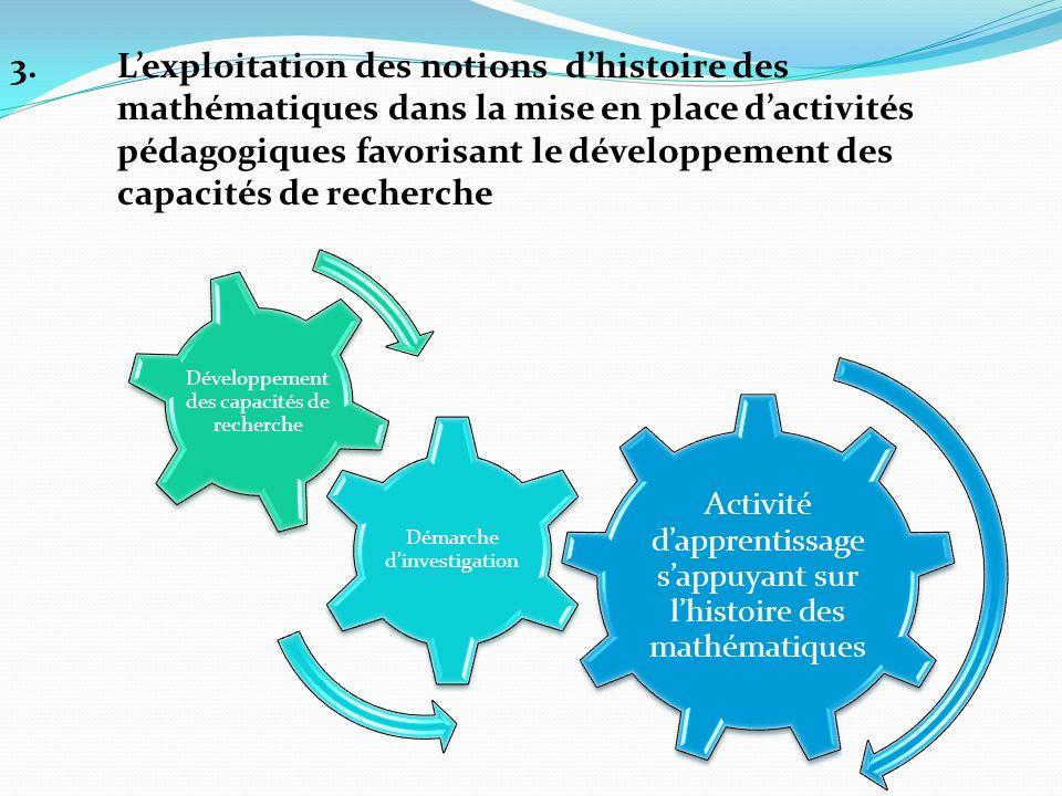 3.Lexploitation des notions dhistoire des mathématiques dans la mise en place dactivités pédagogiques favorisant le développement des capacités de rec