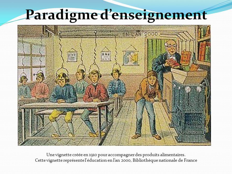 Paradigme denseignement Une vignette créée en 1910 pour accompagner des produits alimentaires. Cette vignette représente l'éducation en lan 2000, Bibl