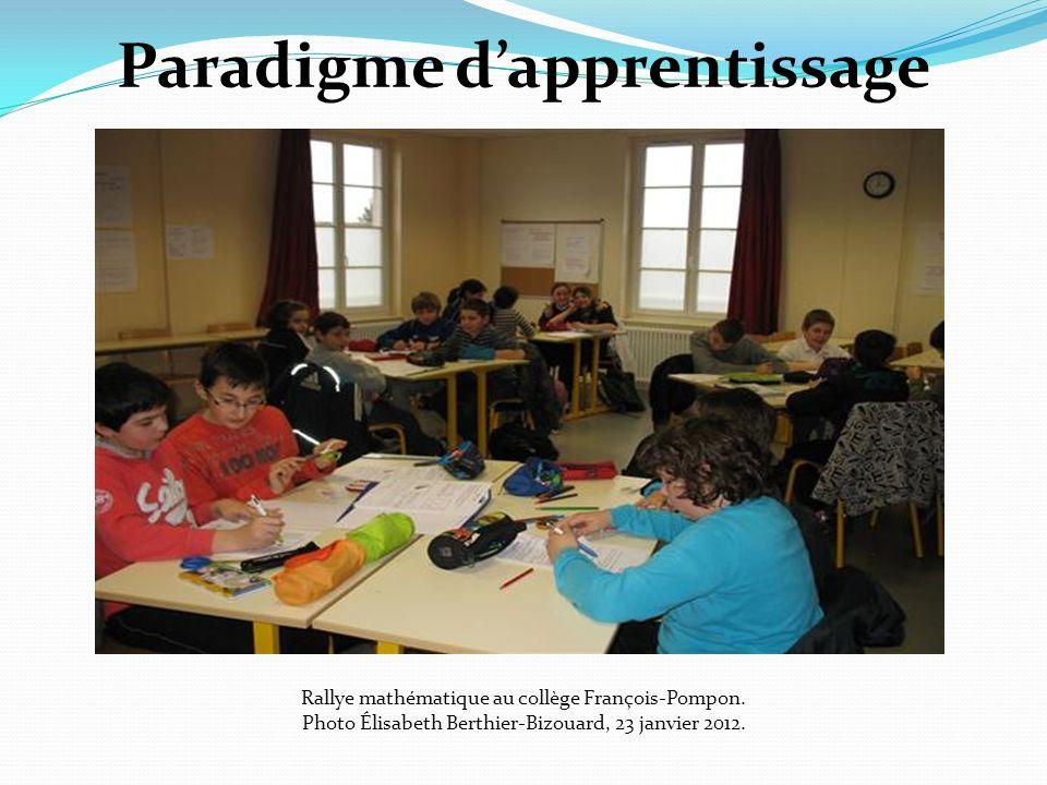 Paradigme dapprentissage Rallye mathématique au collège François-Pompon. Photo Élisabeth Berthier-Bizouard, 23 janvier 2012.