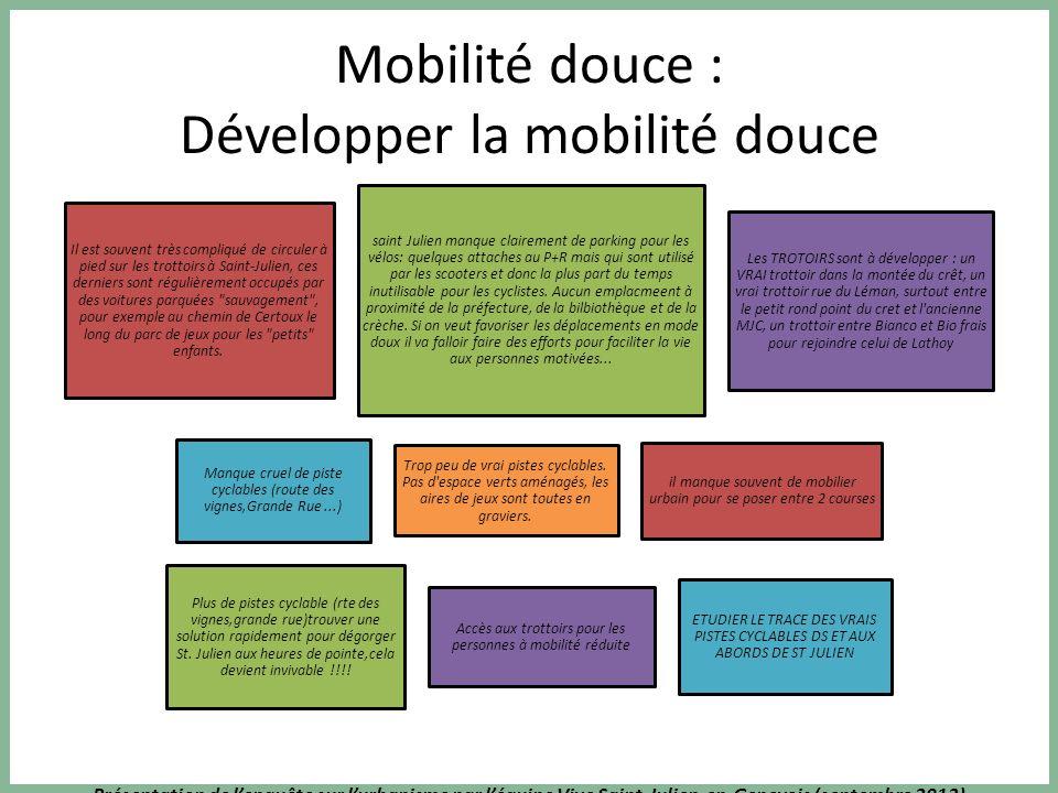 Présentation de lenquête sur lurbanisme par léquipe Vive Saint-Julien-en-Genevois (septembre 2013) Mobilité douce : Développer la mobilité douce Il es