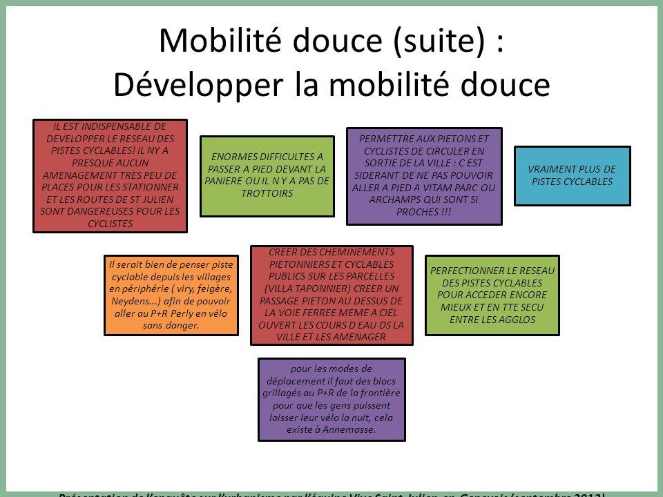 Présentation de lenquête sur lurbanisme par léquipe Vive Saint-Julien-en-Genevois (septembre 2013) Mobilité douce (suite) : Développer la mobilité douce IL EST INDISPENSABLE DE DEVELOPPER LE RESEAU DES PISTES CYCLABLES.