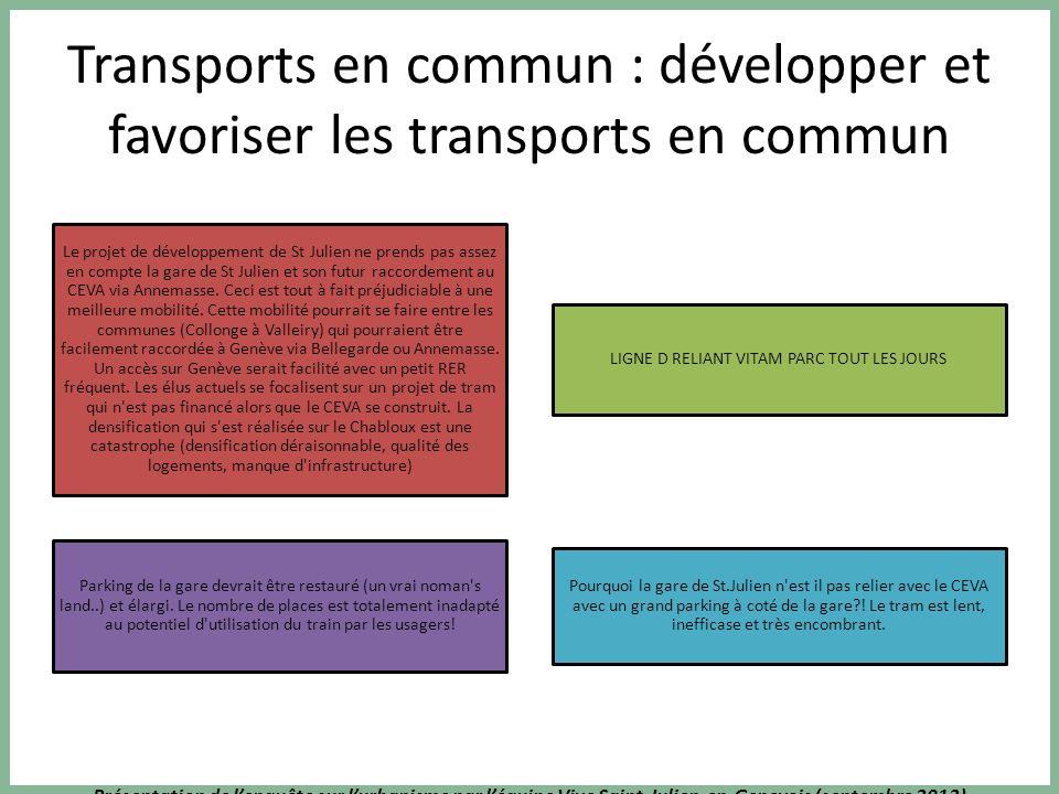 Présentation de lenquête sur lurbanisme par léquipe Vive Saint-Julien-en-Genevois (septembre 2013) Transports en commun : développer et favoriser les