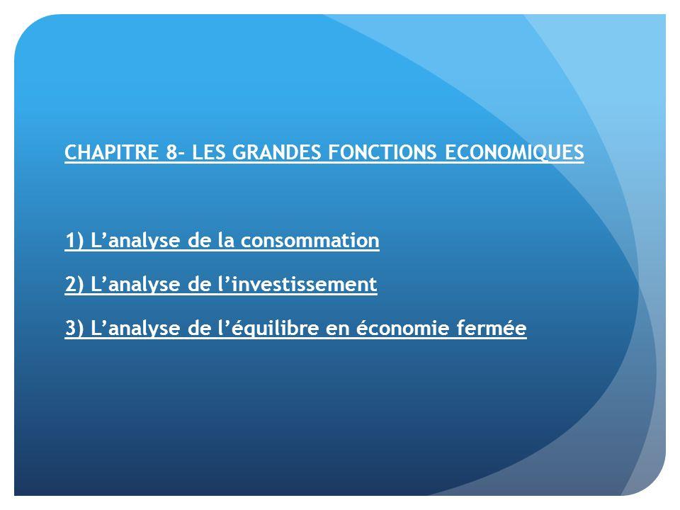 CHAPITRE 8- LES GRANDES FONCTIONS ECONOMIQUES 1) Lanalyse de la consommation 2) Lanalyse de linvestissement 3) Lanalyse de léquilibre en économie ferm