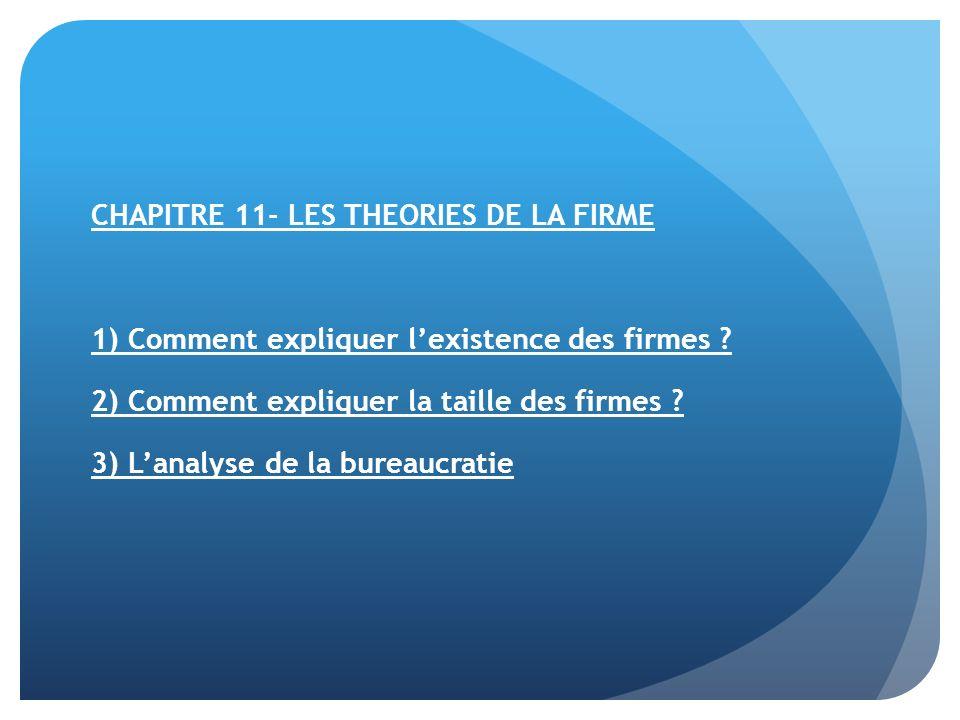 CHAPITRE 11- LES THEORIES DE LA FIRME 1) Comment expliquer lexistence des firmes .