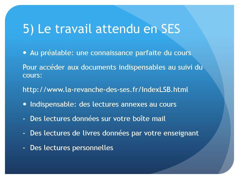 5) Le travail attendu en SES Au préalable: une connaissance parfaite du cours Pour accéder aux documents indispensables au suivi du cours: http://www.