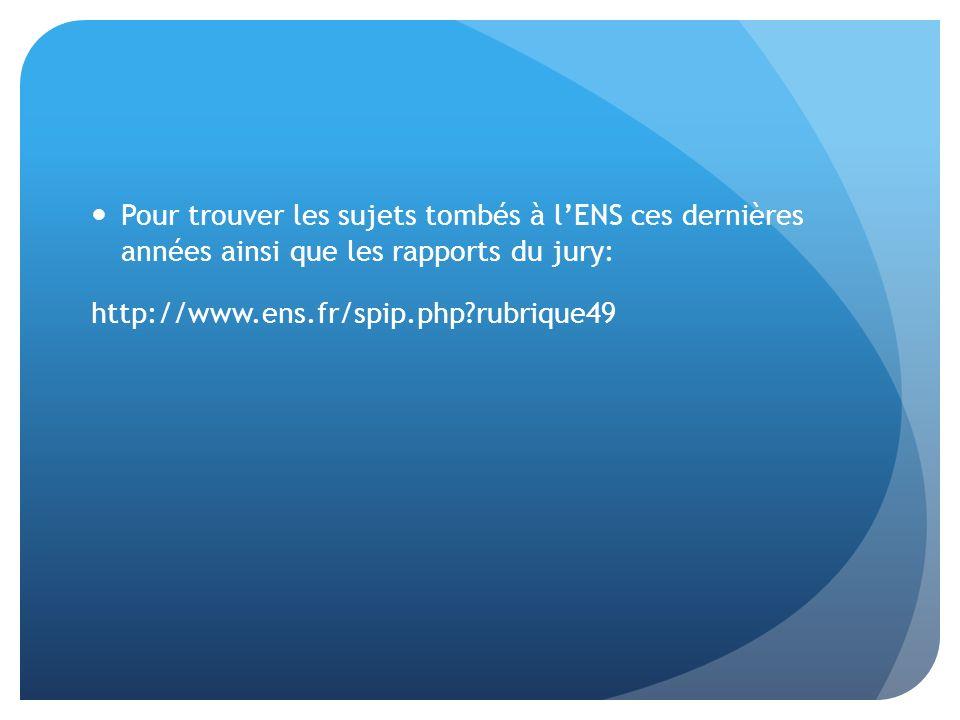 Pour trouver les sujets tombés à lENS ces dernières années ainsi que les rapports du jury: http://www.ens.fr/spip.php?rubrique49
