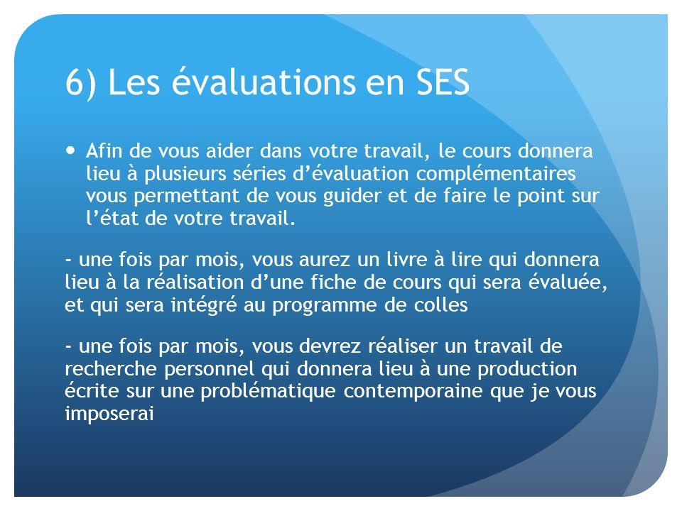 6) Les évaluations en SES Afin de vous aider dans votre travail, le cours donnera lieu à plusieurs séries dévaluation complémentaires vous permettant de vous guider et de faire le point sur létat de votre travail.