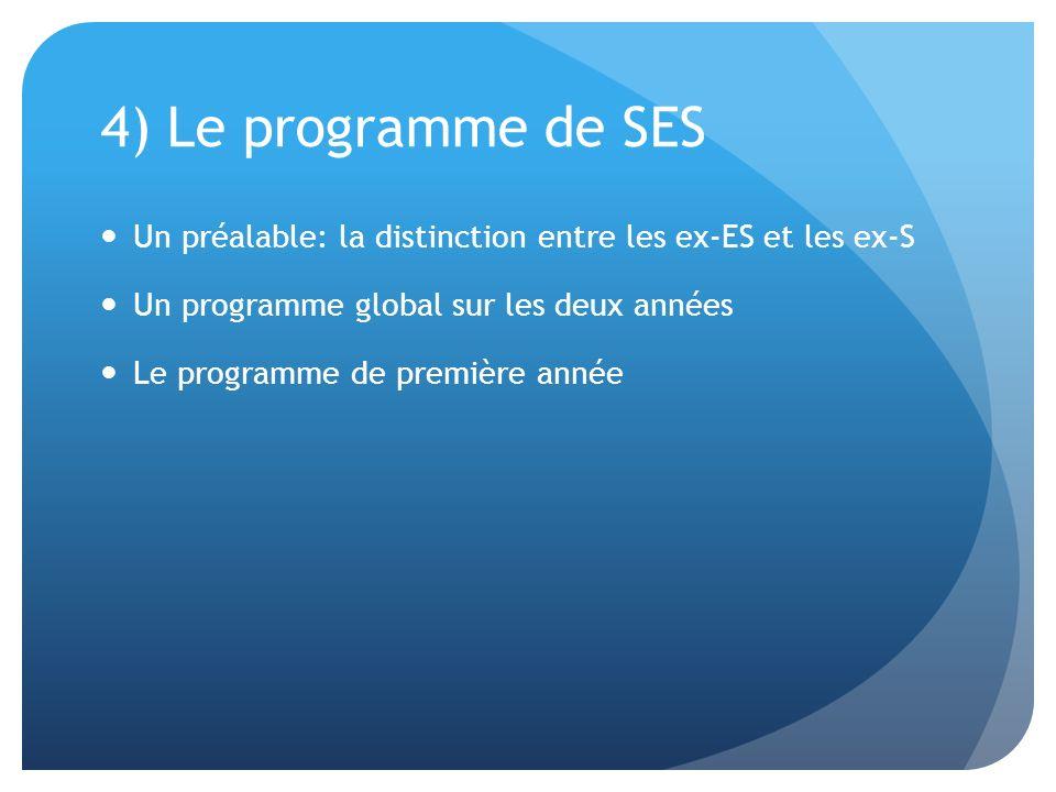 4) Le programme de SES Un préalable: la distinction entre les ex-ES et les ex-S Un programme global sur les deux années Le programme de première année