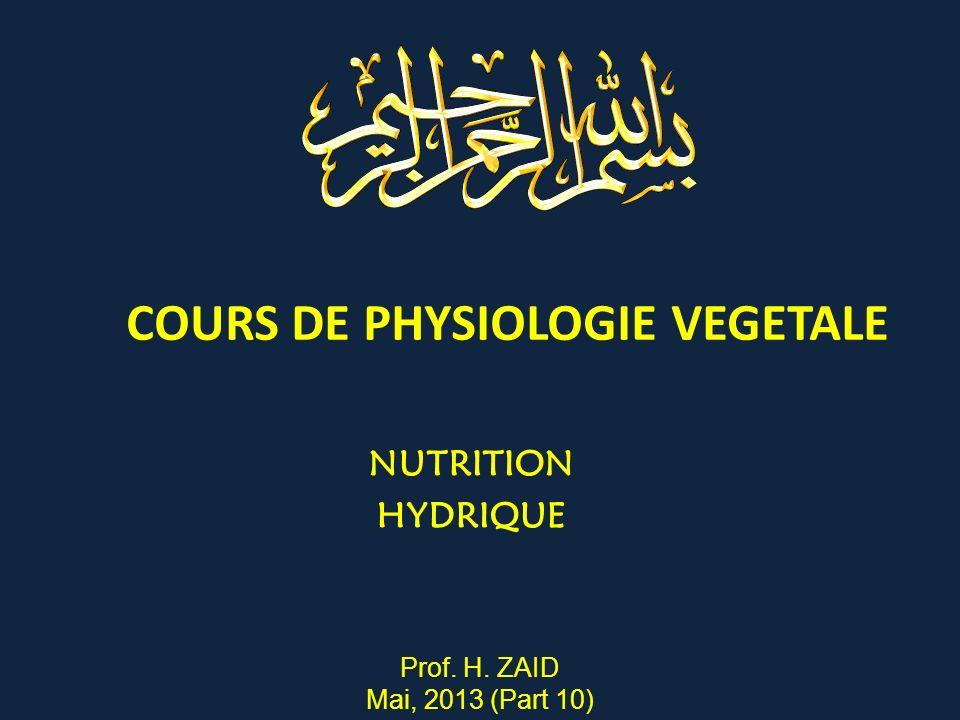 COURS DE PHYSIOLOGIE VEGETALE NUTRITION HYDRIQUE Prof. H. ZAID Mai, 2013 (Part 10)