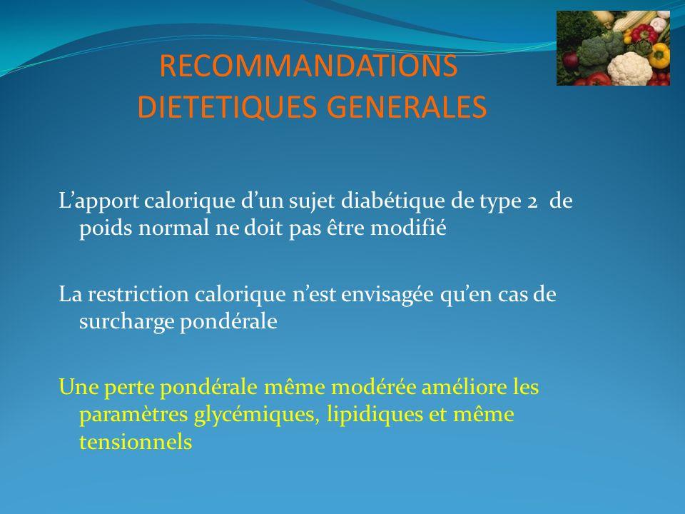 RECOMMANDATIONS DIETETIQUES GENERALES Lapport calorique dun sujet diabétique de type 2 de poids normal ne doit pas être modifié La restriction caloriq