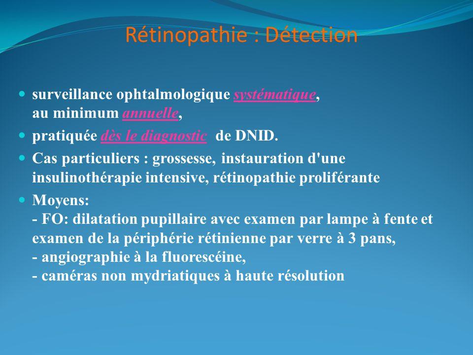 Rétinopathie : Détection surveillance ophtalmologique systématique, au minimum annuelle, pratiquée dès le diagnostic de DNID. Cas particuliers : gross