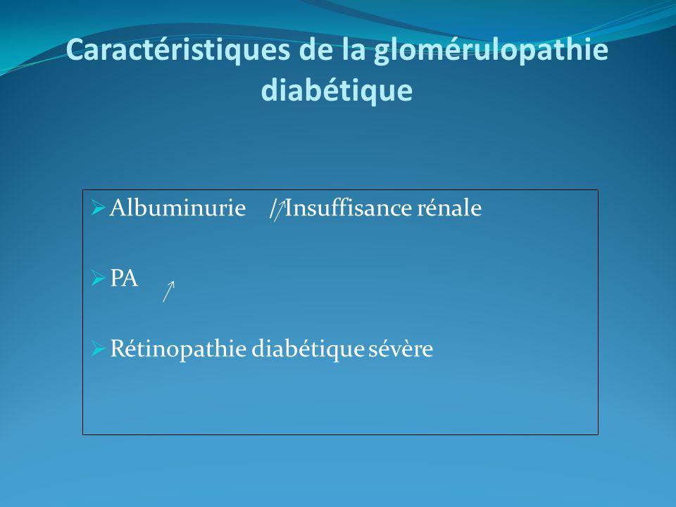Caractéristiques de la glomérulopathie diabétique Albuminurie / Insuffisance rénale PA Rétinopathie diabétique sévère