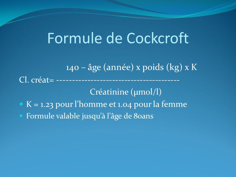 Formule de Cockcroft 140 – âge (année) x poids (kg) x K Cl. créat= ---------------------------------------- Créatinine (µmol/l) K = 1.23 pour lhomme e