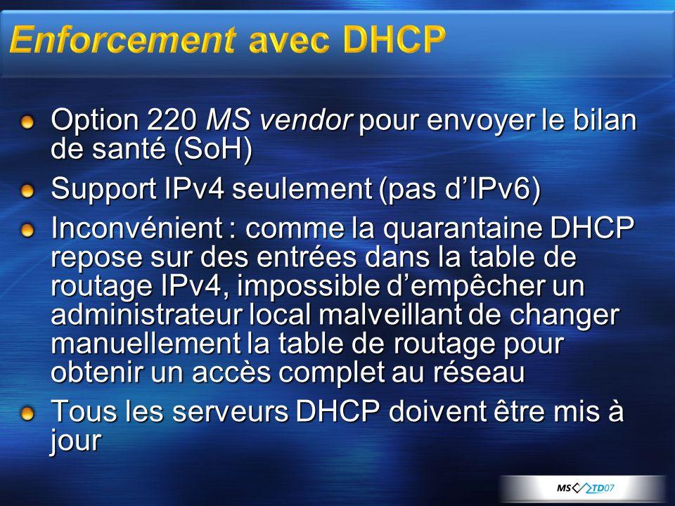 Option 220 MS vendor pour envoyer le bilan de santé (SoH) Support IPv4 seulement (pas dIPv6) Inconvénient : comme la quarantaine DHCP repose sur des e