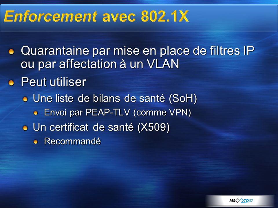 Quarantaine par mise en place de filtres IP ou par affectation à un VLAN Peut utiliser Une liste de bilans de santé (SoH) Envoi par PEAP-TLV (comme VP