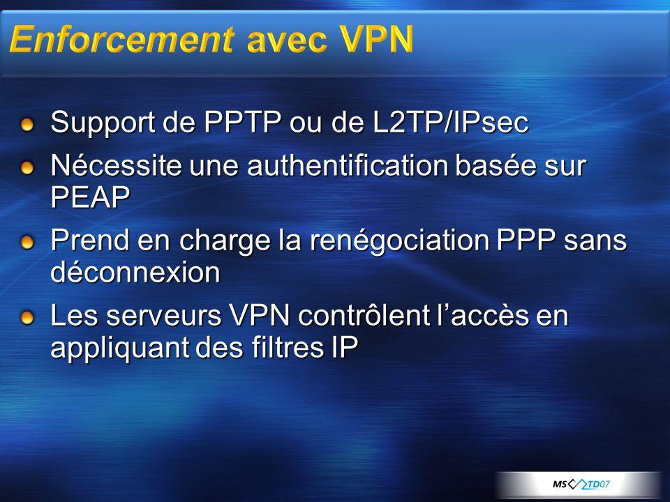Support de PPTP ou de L2TP/IPsec Nécessite une authentification basée sur PEAP Prend en charge la renégociation PPP sans déconnexion Les serveurs VPN