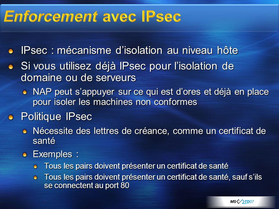 IPsec : mécanisme disolation au niveau hôte Si vous utilisez déjà IPsec pour lisolation de domaine ou de serveurs NAP peut sappuyer sur ce qui est dor