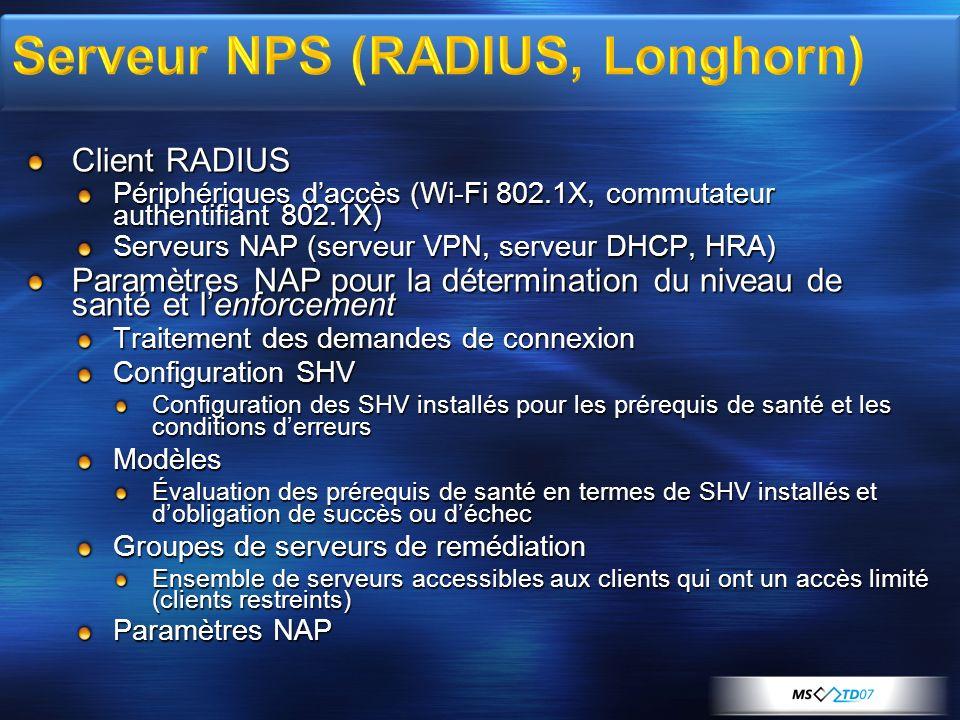 Client RADIUS Périphériques daccès (Wi-Fi 802.1X, commutateur authentifiant 802.1X) Serveurs NAP (serveur VPN, serveur DHCP, HRA) Paramètres NAP pour