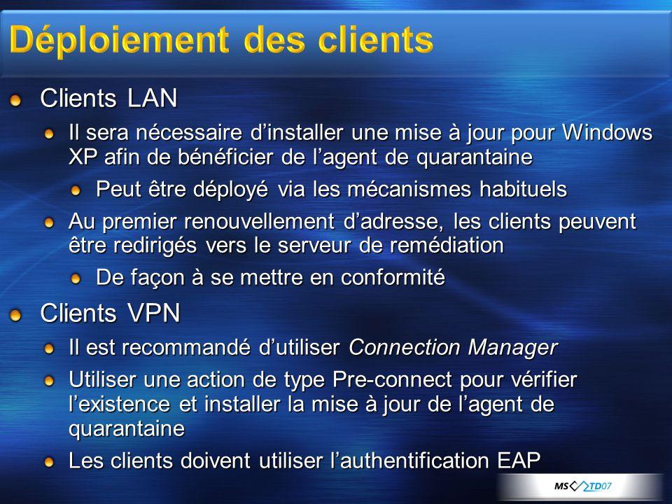 Clients LAN Il sera nécessaire dinstaller une mise à jour pour Windows XP afin de bénéficier de lagent de quarantaine Peut être déployé via les mécani