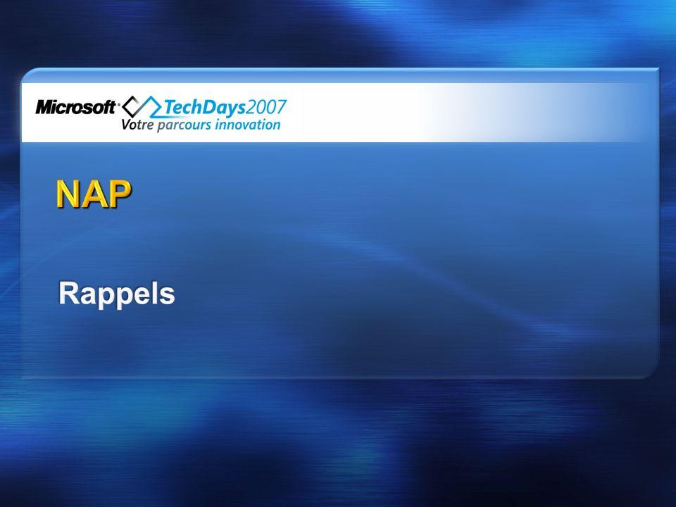 Flux réseau Serveur RADIUS (NPS) Client Serveurs de remèdiation politique Autorité de délivrance des certificats de santé Serveur DHCP Serveur VPN Eléments actifs réseau 802.1X HTTPS DHCP PEAP over PPP PEAP over EAPOL RADIUS