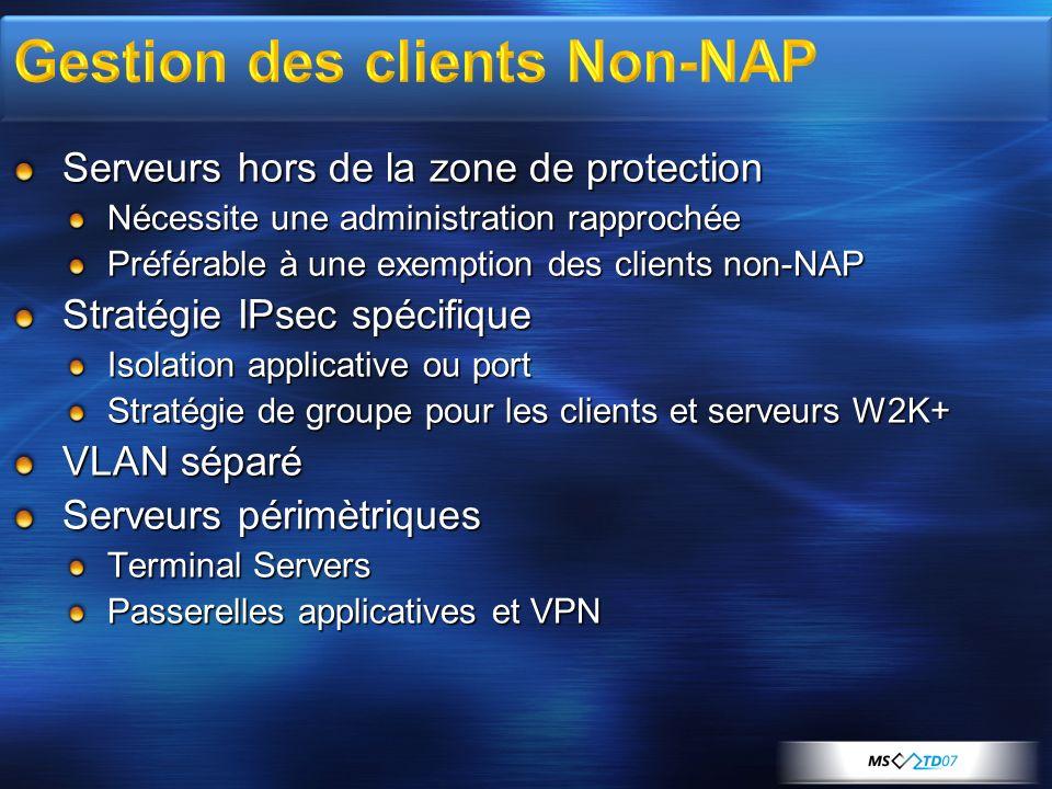Serveurs hors de la zone de protection Nécessite une administration rapprochée Préférable à une exemption des clients non-NAP Stratégie IPsec spécifiq