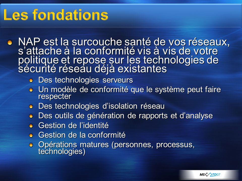 NAP est la surcouche santé de vos réseaux, sattache à la conformité vis à vis de votre politique et repose sur les technologies de sécurité réseau déj