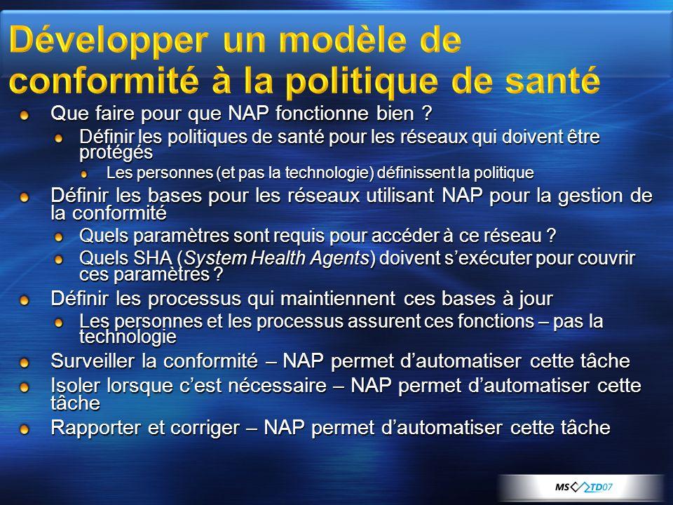 Que faire pour que NAP fonctionne bien ? Définir les politiques de santé pour les réseaux qui doivent être protégés Les personnes (et pas la technolog