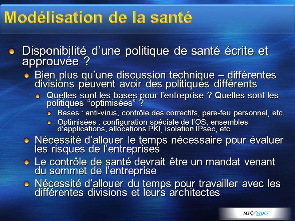 Disponibilité dune politique de santé écrite et approuvée ? Bien plus quune discussion technique – différentes divisions peuvent avoir des politiques
