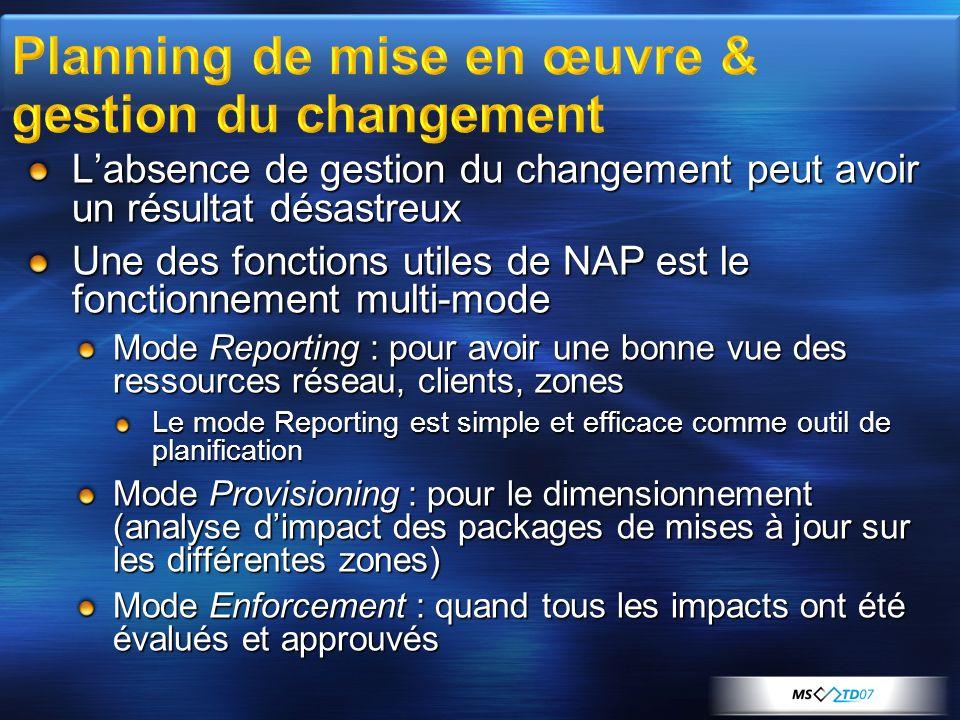 Labsence de gestion du changement peut avoir un résultat désastreux Une des fonctions utiles de NAP est le fonctionnement multi-mode Mode Reporting :