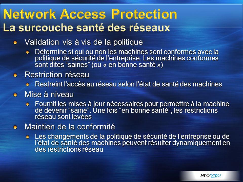 Quarantaine par mise en place de filtres IP ou par affectation à un VLAN Peut utiliser Une liste de bilans de santé (SoH) Envoi par PEAP-TLV (comme VPN) Un certificat de santé (X509) Recommandé