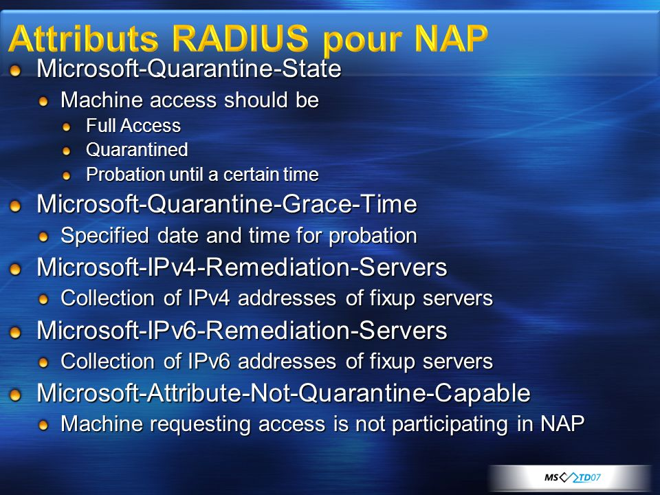 Microsoft-Quarantine-State Machine access should be Full Access Quarantined Probation until a certain time Microsoft-Quarantine-Grace-Time Specified d