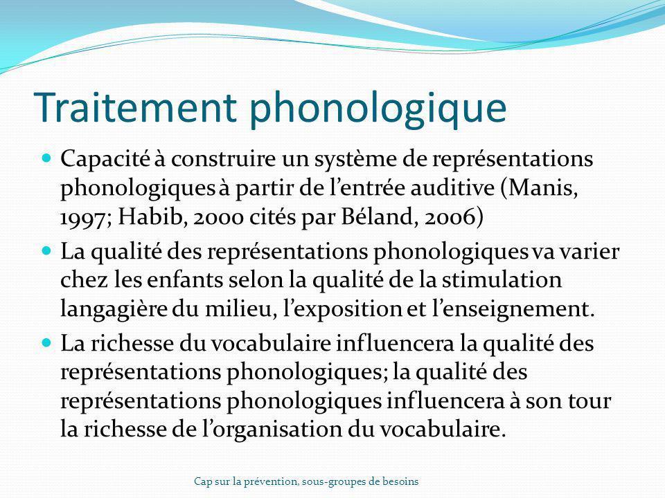 Traitement phonologique Capacité à construire un système de représentations phonologiques à partir de lentrée auditive (Manis, 1997; Habib, 2000 cités