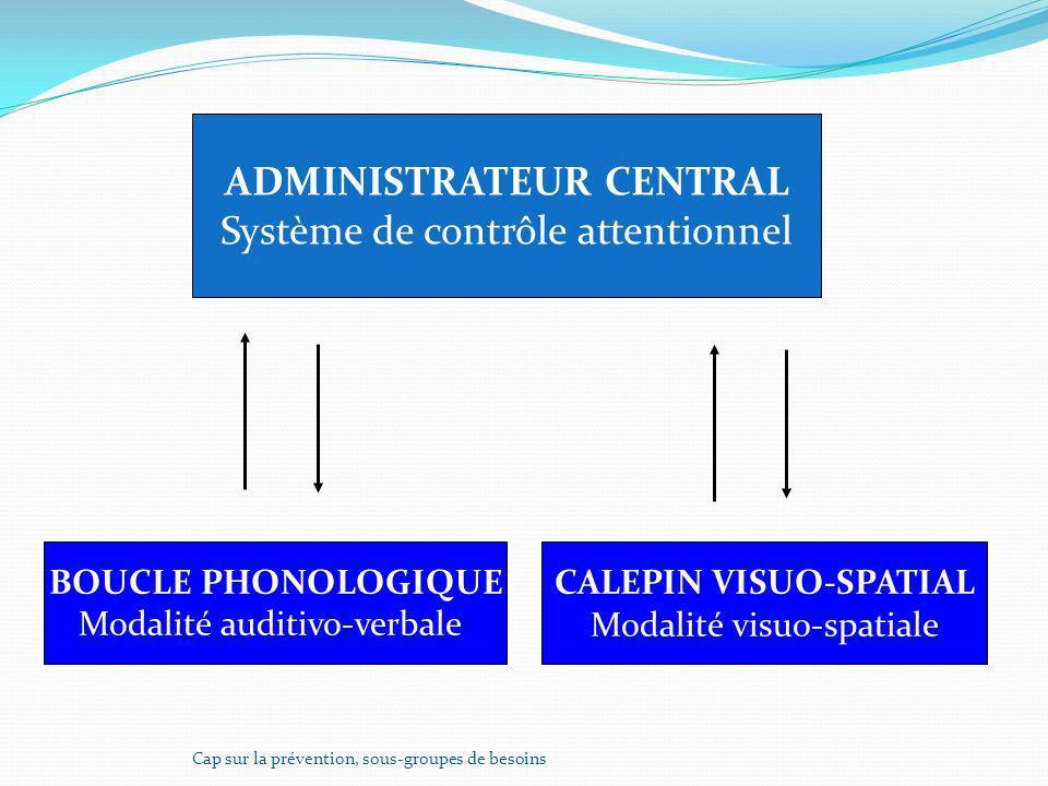 ADMINISTRATEUR CENTRAL Système de contrôle attentionnel BOUCLE PHONOLOGIQUE Modalité auditivo-verbale CALEPIN VISUO-SPATIAL Modalité visuo-spatiale Ca