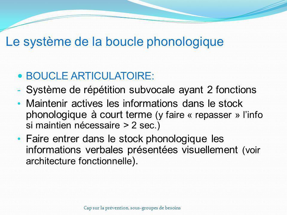Le système de la boucle phonologique BOUCLE ARTICULATOIRE: - Système de répétition subvocale ayant 2 fonctions Maintenir actives les informations dans