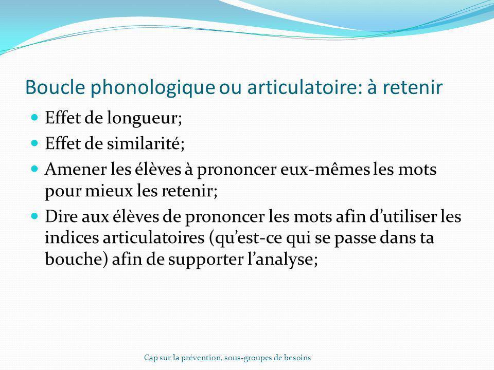 Boucle phonologique ou articulatoire: à retenir Effet de longueur; Effet de similarité; Amener les élèves à prononcer eux-mêmes les mots pour mieux le