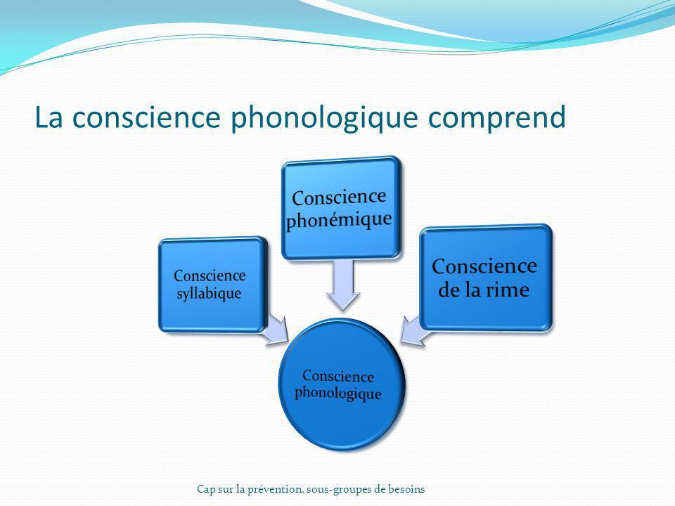 La conscience phonologique comprend Cap sur la prévention, sous-groupes de besoins