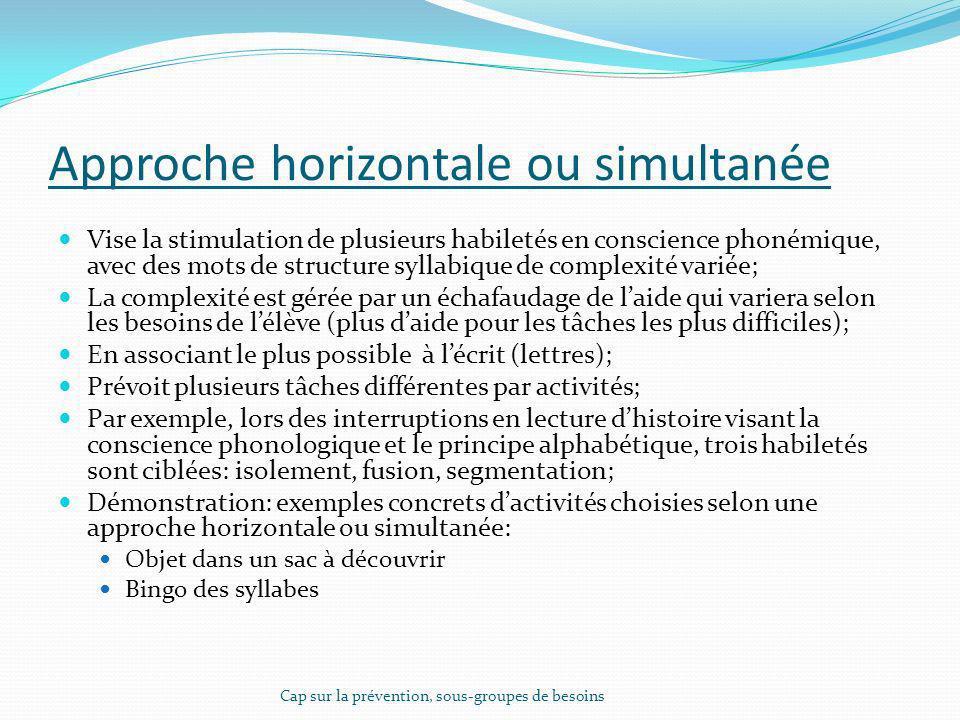 Approche horizontale ou simultanée Vise la stimulation de plusieurs habiletés en conscience phonémique, avec des mots de structure syllabique de compl