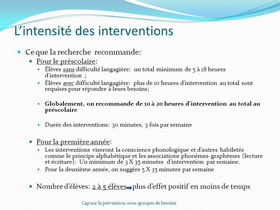 Lintensité des interventions Ce que la recherche recommande: Pour le préscolaire: Élèves sans difficulté langagière: un total minimum de 5 à 18 heures
