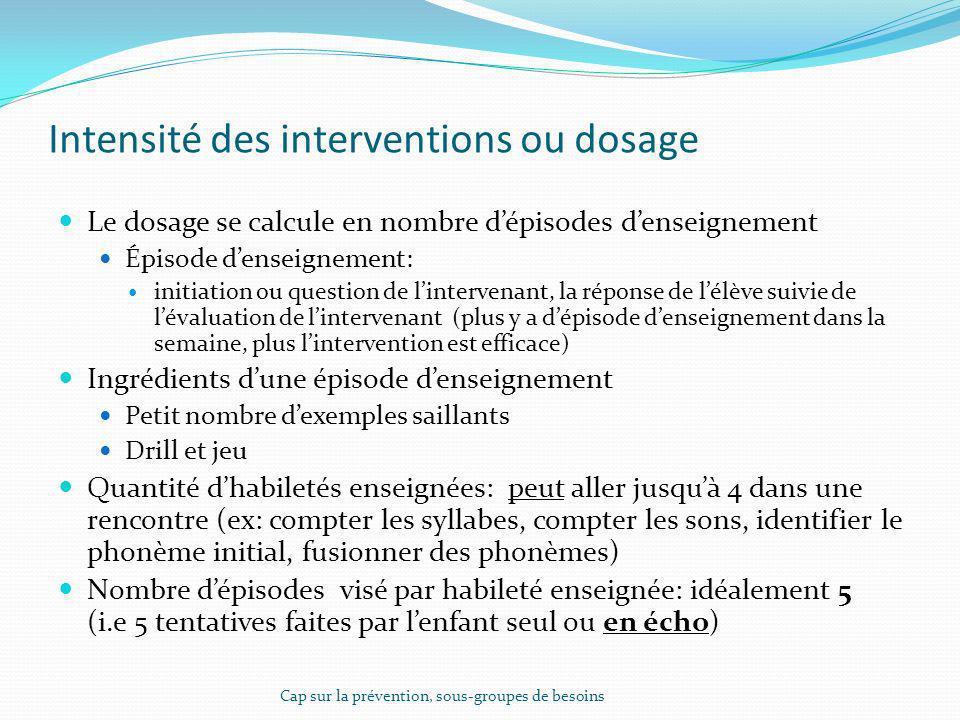 Intensité des interventions ou dosage Le dosage se calcule en nombre dépisodes denseignement Épisode denseignement: initiation ou question de linterve