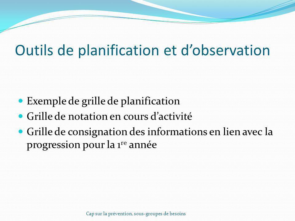 Outils de planification et dobservation Exemple de grille de planification Grille de notation en cours dactivité Grille de consignation des informatio