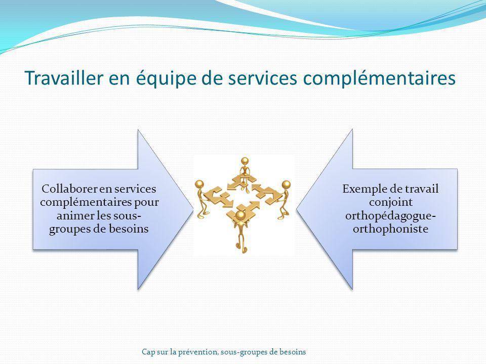 Travailler en équipe de services complémentaires Collaborer en services complémentaires pour animer les sous- groupes de besoins Exemple de travail co