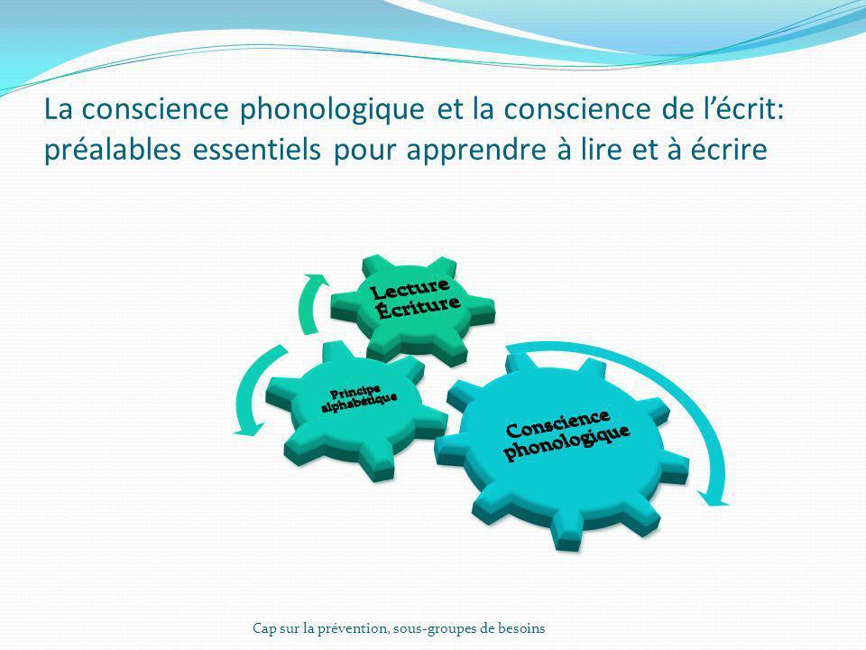 La conscience phonologique et la conscience de lécrit: préalables essentiels pour apprendre à lire et à écrire Cap sur la prévention, sous-groupes de